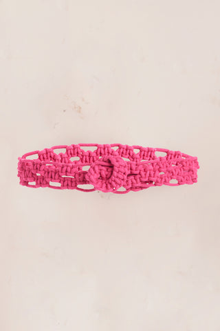 Pink crocheted rope belt