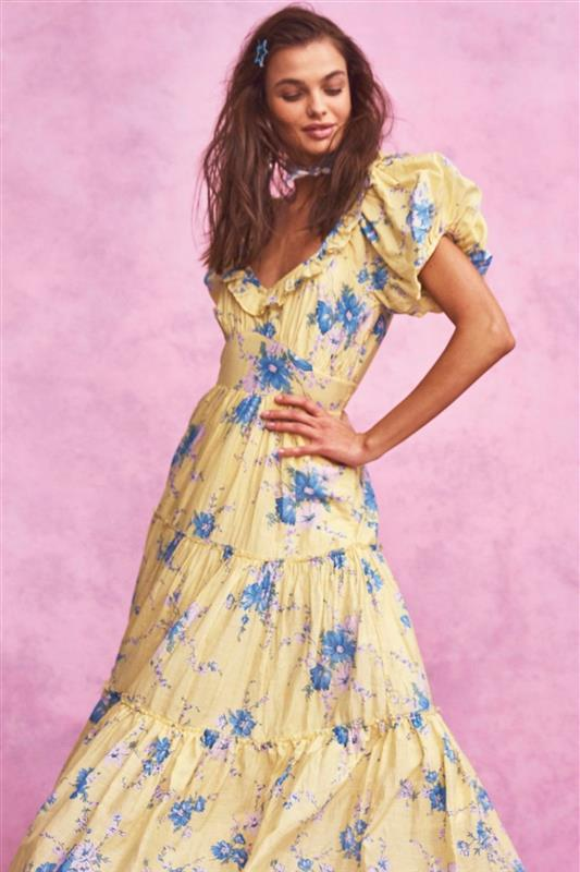 Fitted yellow and blue floral print maxi dress with tiered skirt and puffed short sleeve