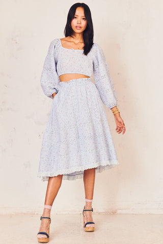 Blue floral print midi skirt with tiered skirt and shirred elastic waist with lace detailing