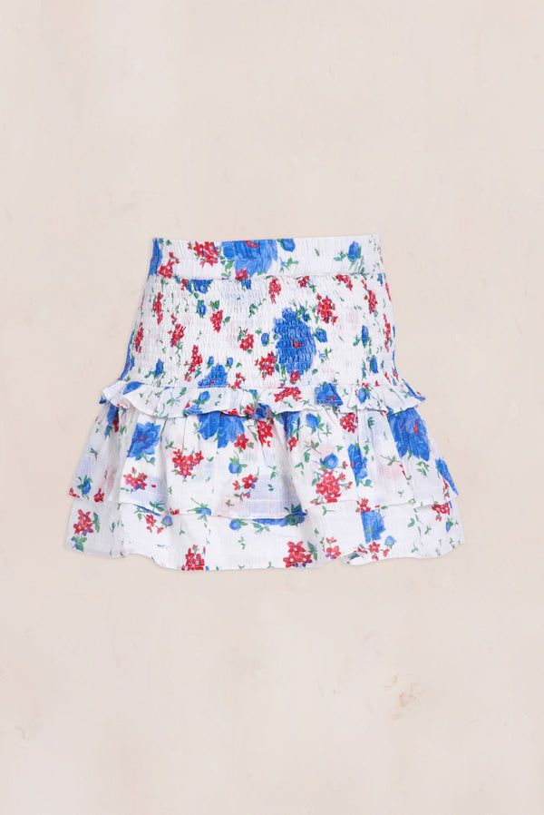 Blue, red, and white mini skirt with shirred bodice and tiered ruffle bottom