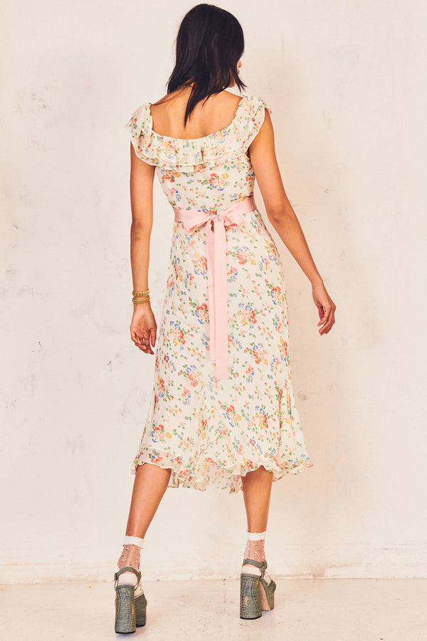 White and pink floral print midi dress with ruffle trim sleeves and belted waist