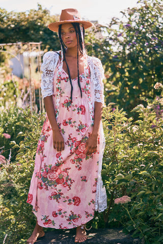 Pink and red floral print maxi dress with thin straps and v neck detail