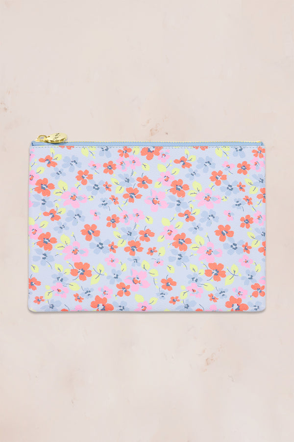 Blue and pink floral print flat pouch with gold zipper