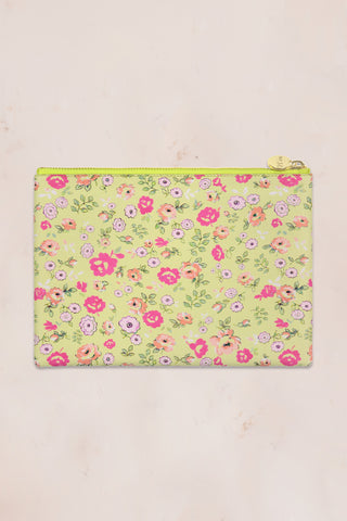 Green and pink floral print flat pouch with gold zipper