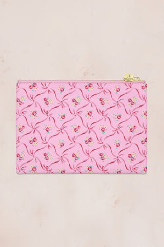 Pink floral print flat pouch with gold zipper