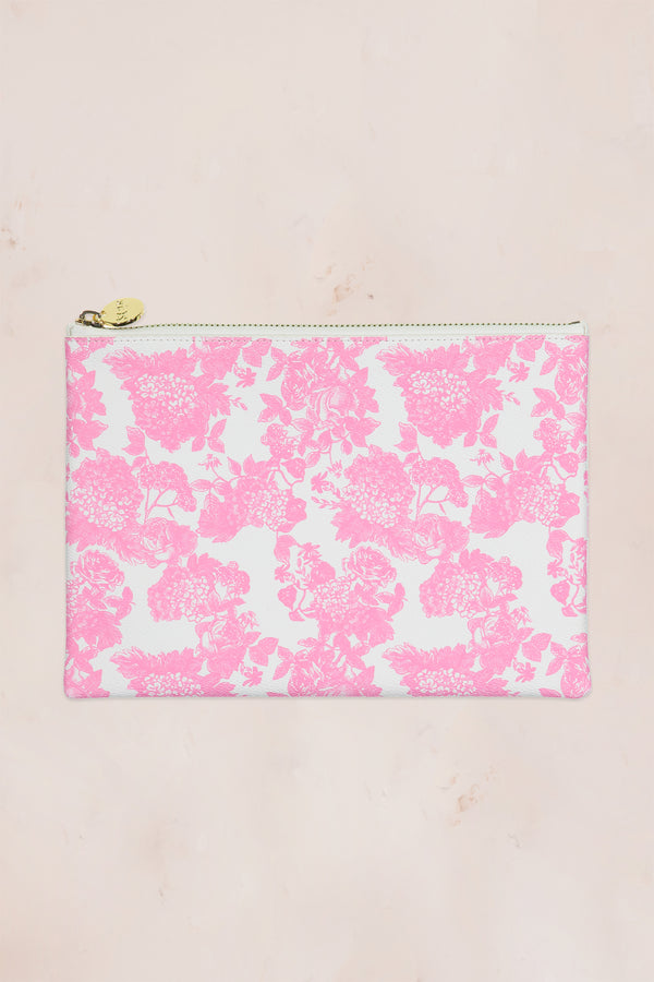 Pink and white floral flat pouch with gold zipper
