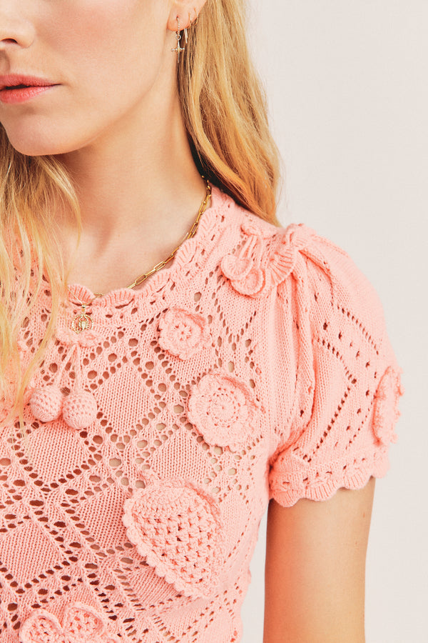 Peach crochet lace bodysuit with short sleeves