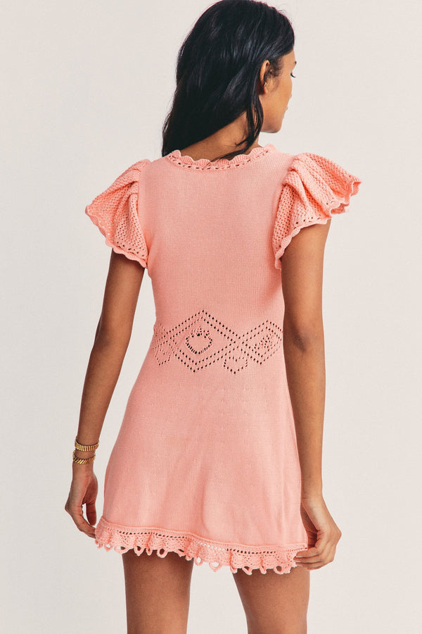 Peach knit mini dress with short sleeves and pointelle detailing