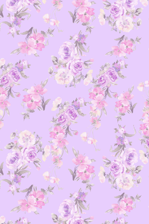 Purple and white floral print linen throw