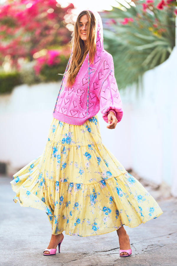 Yellow and blue tiered maxi skirt with elastic waist and side slit