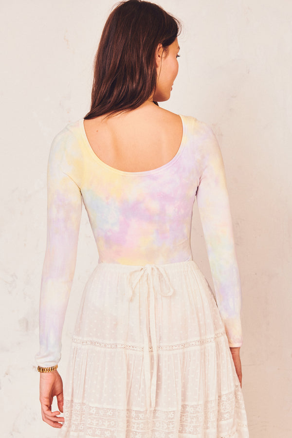 hand tie-dyed crew neck long sleeve bodysuit
