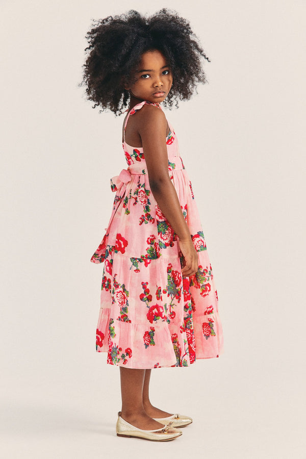 Girls pink and red floral maxi dress with tie straps