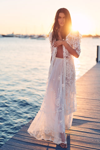 White lace long duster with short sleeves