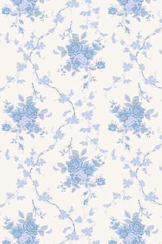 Blue and white floral beach towel