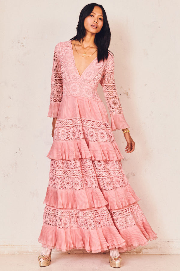 Fitted pink long-sleeves maxi dress with embroidery detail and tiered ruffle skirt