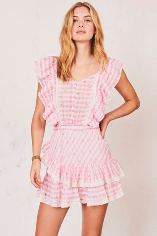 Pink gingham print mini dress with ruffle trim sleeves and tiered ruffle skirt and button detail with elastic waist
