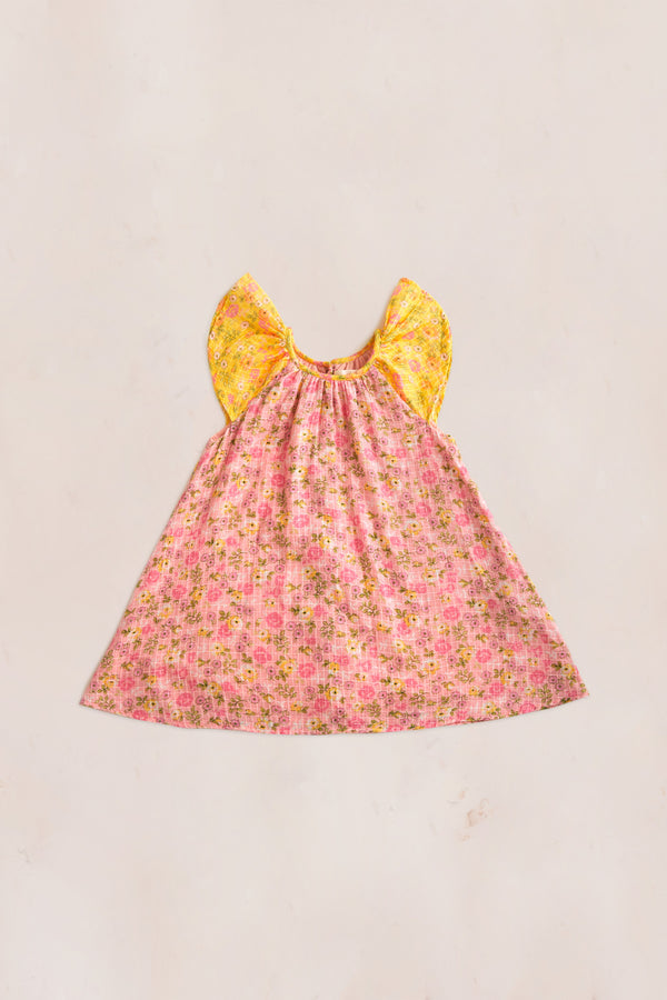 Pink and yellow floral print midi dress with ruffle short sleeve