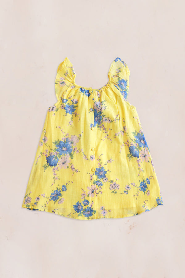 Yellow and blue floral print midi dress with ruffle short sleeve