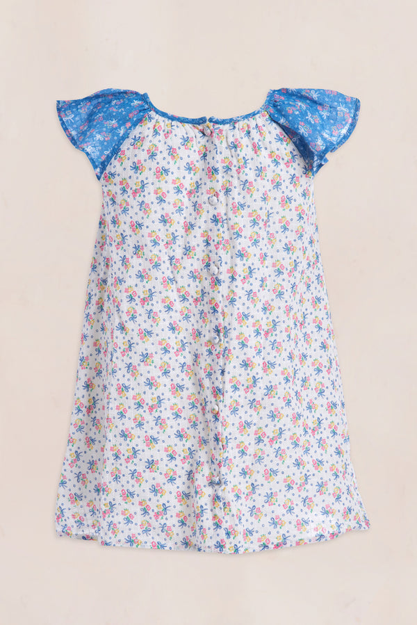 Blue and white floral print midi dress with ruffle short sleeve