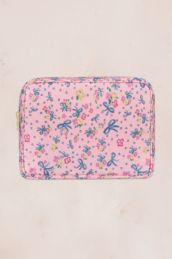 Pink and blue floral large pouch with gold zipper