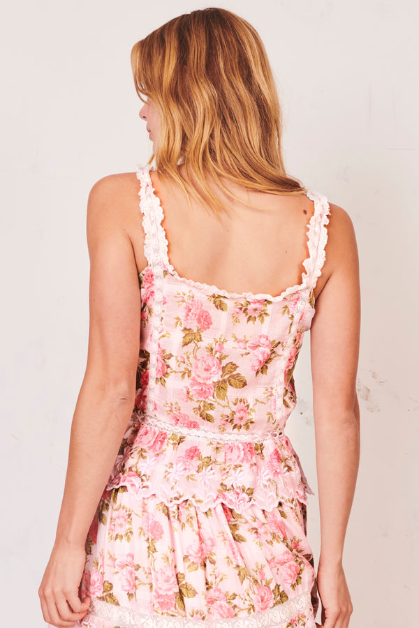 Pink floral print tank top with lace trim straps and elastic peplum flare bottoms