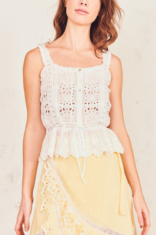 White print tank top with lace trim straps and elastic peplum flare bottoms