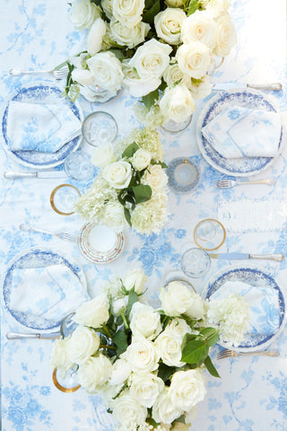 Blue floral print linen tablecloth