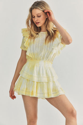 Yellow dyed mini dress with elastic waist tiered ruffle skirt detail and ruffle short sleeve