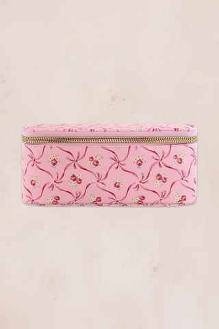 Pink floral print pouch with mirror and gold zipper detail
