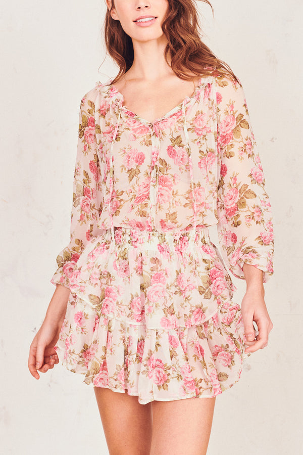 Pink floral print silk mini dress with elastic waist and tiered ruffle skirt