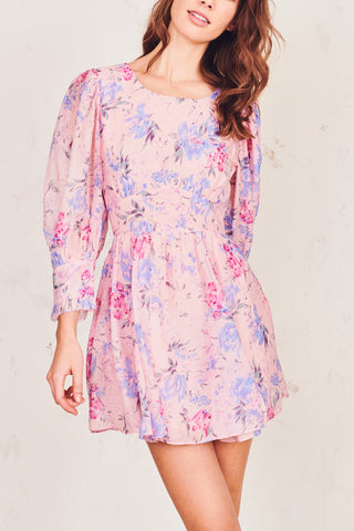 Pink and blue floral print mini dress with fitted waist and puffed long sleeve