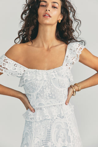 White lace bustier tank top with ruffle edge detail throughout