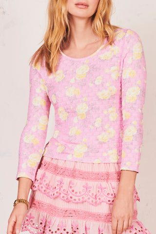 Pink and yellow floral long sleeve crewneck top