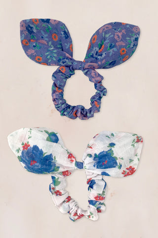 Blue and white floral print scrunchies