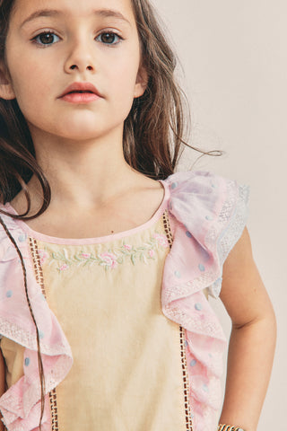 Girls Sylvie Flutter Sleeve Dress