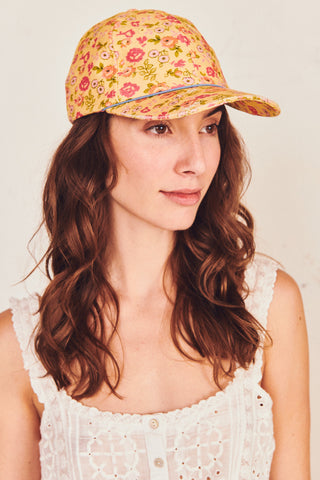 Yellow floral print hat