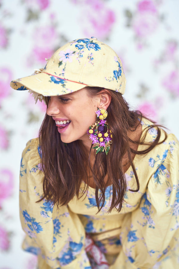 Yellow and blue floral print hat