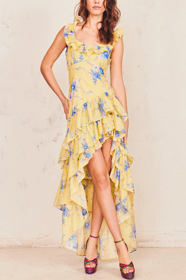 Yellow and blue floral print midi dress with ruffle trim top off shoulder and tiered ruffle skirt