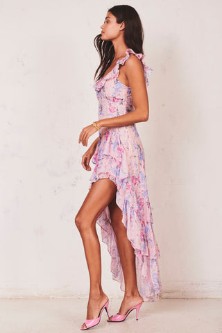 Pink and blue floral print midi dress with ruffle trim top off shoulder and tiered ruffle skirt
