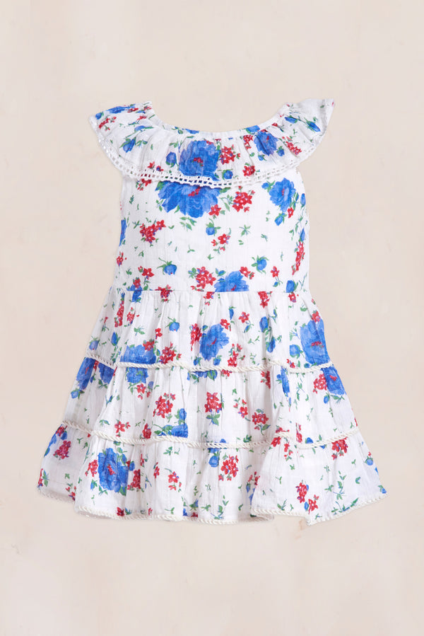 Blue, red and white floral print off the shoulder mini dress with tiered ruffle bottom