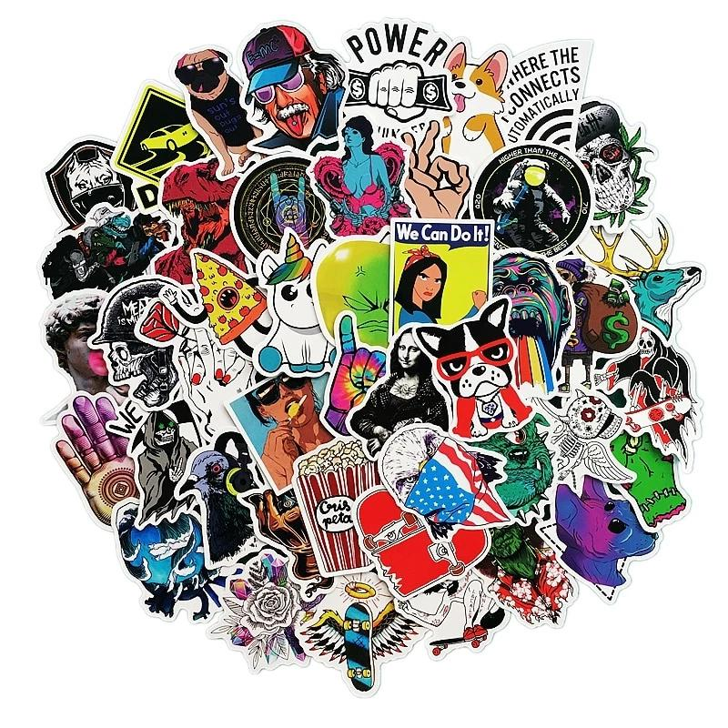 Cool laptop and bag stickers - 50 random stickers - Gifteen