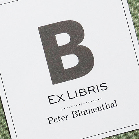 Ex Libris Modern Bookplate Single Initial, Set of 24.