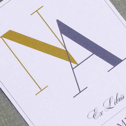 Modern Monogram Bookplate, Set of 24