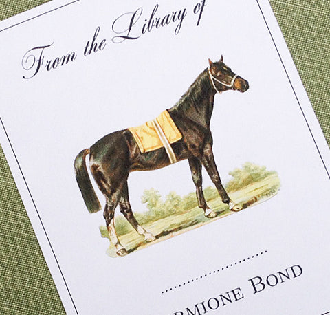 Bookplate with Vintage Horse Illustration, Set of 24
