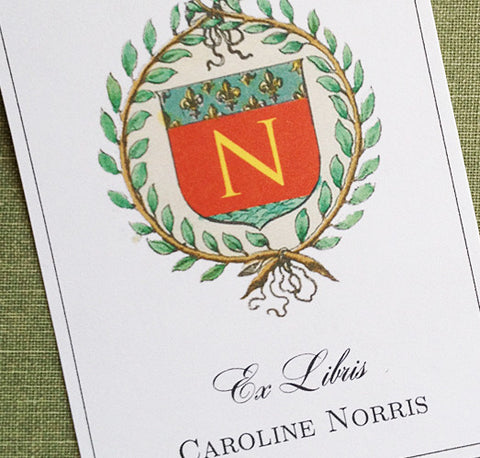 Napoleon Wreath Bookplate with Monogram - Set of 24