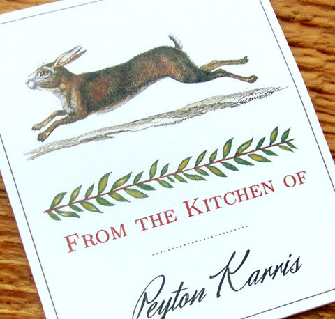 Rabbit Label or Tags with From the Kitchen of Personalized