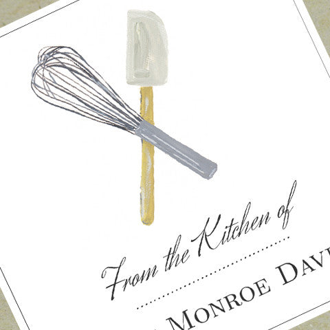 "Whisk and Spatula ""From the Kitchen of"" Sticker or Tag (Set of 18)"