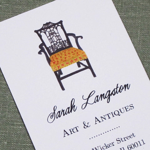 Chinese Chippendale Chair Business Card, Set of 50