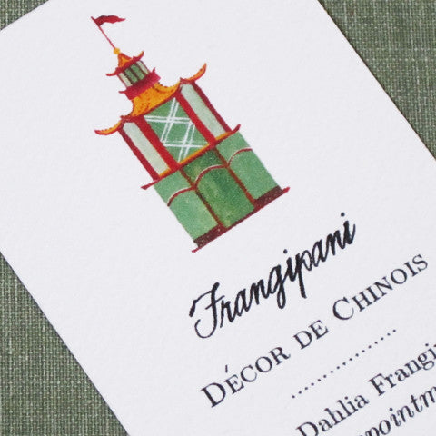 Chinoiserie Pagoda Business Card, Set of 50