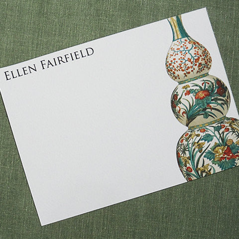 Personalized Flat Notes with Antique Chinese Vase